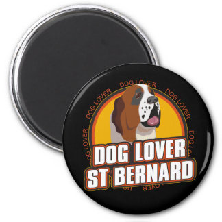 Amoureux des chiens de St Bernard Magnet Rond 8 Cm