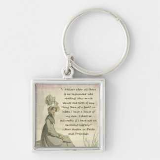 Amoureux des livres de Jane Austen Porte-clé Carré Argenté
