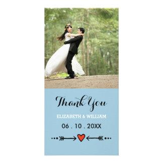 Amoureux roses et Merci bleu de mariage de flèches Cartes Avec Photo