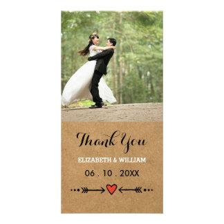 Amoureux roses et Merci rustique de mariage de Photocartes Personnalisées