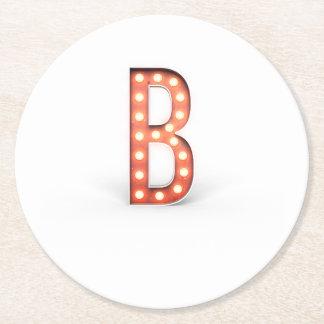 Ampoule de chapiteau de monogramme de B Dessous-de-verre Rond En Papier