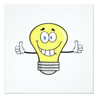 Ampoule incandescente de sourire carton d'invitation  13,33 cm