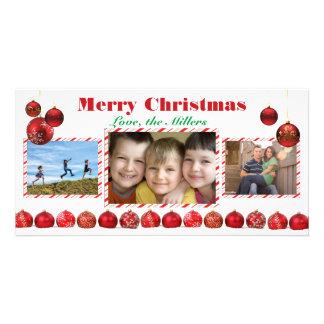 Ampoules rouges de Joyeux Noël - carte photo Photocarte Personnalisée