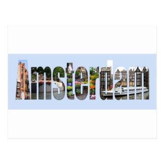 Amsterdam avec des vues de touriste dans les carte postale