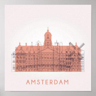 Amsterdam, horizon de Pays-Bas | des points de Poster