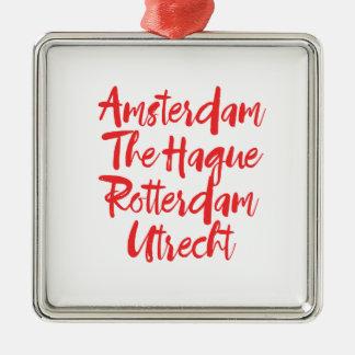 Amsterdam la Haye Rotterdam Utrecht Ornement Carré Argenté