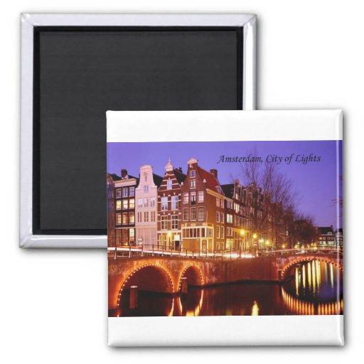 Amsterdam, ville des lumières (par St.K.) Magnets Pour Réfrigérateur