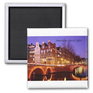 Amsterdam, ville des lumières (par St.K.) Magnet Carré