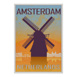 Amsterdam vintage poster posters