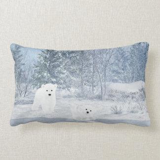Amusement de neige - ours blanc CUB, Coussins Carrés