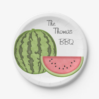 Amusement d'été, BBQ, pastèque, personnalisée, Assiettes En Papier