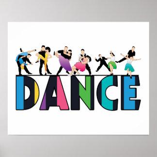 Amusement et danse rayée colorée de danseurs poster