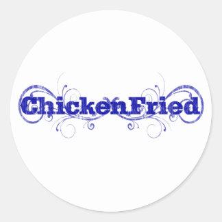 """Amusement et """"poulet lunatique frits """" sticker rond"""