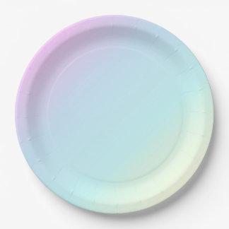 Amusement et rose en pastel moderne, bleu, vert, assiettes en papier