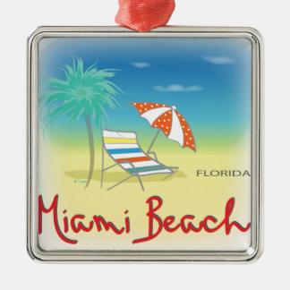 Amusement Miami Beach, FL Ornement Carré Argenté