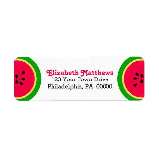 Amusement moderne d'été de pastèque étiquettes d'adresse retour