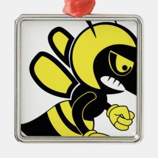 amusement moyen d'abeille ornement carré argenté