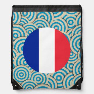 Amusement rempli, drapeau rond de la France Sac Avec Cordons