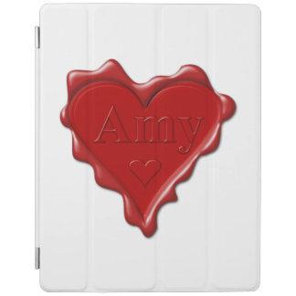 Amy. Joint rouge de cire de coeur avec Amy nommée Protection iPad