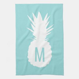 ananas bleu en pastel de monogramme serviettes pour les mains