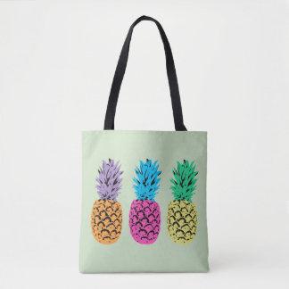 Ananas colorés illustrés tote bag