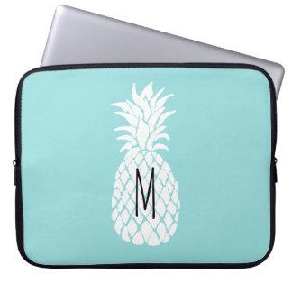 ananas de blanc de monogramme protection pour ordinateur portable