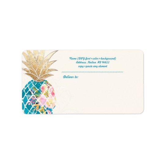 Ananas de PixDezines Aloha+Aquarelle florale Étiquette D'adresse
