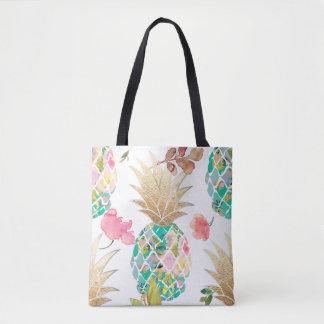 Ananas de PixDezines Aloha+Aquarelle florale Sac