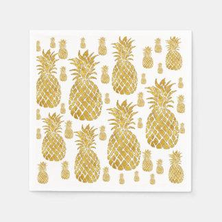 ananas de regard de feuille d'or de faux serviette jetable