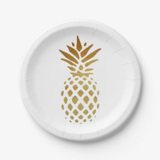 Ananas d'or, fruit en or assiettes en papier