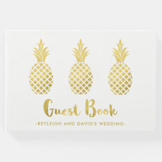 Ananas élégants d'or de Faux sur le blanc Livre D'or