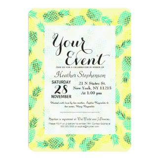 Ananas hawaïens tropicaux jaunes et verts au néon carton d'invitation  12,7 cm x 17,78 cm