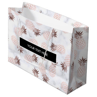 ananas rose d'or de marbre blanc moderne élégant grand sac cadeau