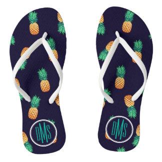 Ananas sur le monogramme de la marine | tongs