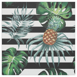 Ananas tropical d'aquarelle avec les rayures tissu