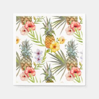Ananas tropical de feuille de fleurs d'aquarelle serviettes en papier