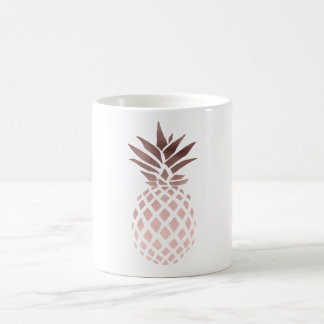 ananas tropical de feuille d'or rose claire mug