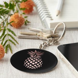 ananas tropical de feuille d'or rose claire porte-clé rond