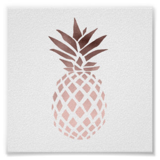 ananas tropical de feuille d'or rose claire posters