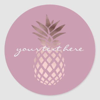 ananas tropical de feuille d'or rose claire sticker rond