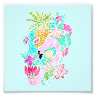 Ananas tropical de flamant d'aquarelle d'été photo d'art