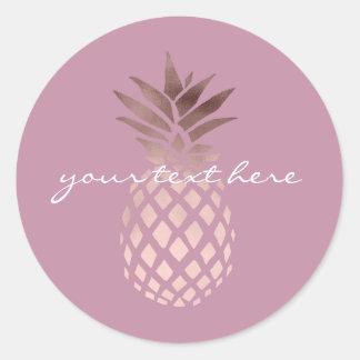 ananas tropical de poussin d'or rose élégant sticker rond