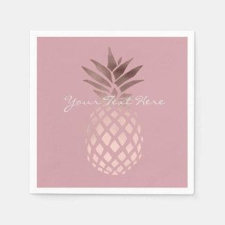 ananas tropical d'or rose clair élégant de faux serviettes en papier