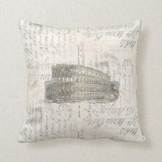 Ancient Rome Coliseum Italian Postcard Pillow Coussin Décoratif