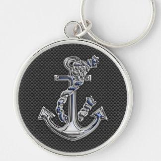Ancre argentée de corde de style de chrome sur la porte-clé rond argenté