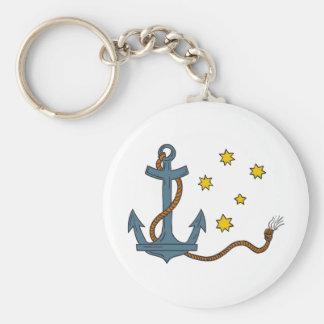 Ancre avec la corde et le dessin du sud d'étoile porte-clé rond