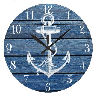 Ancre blanche et bois bleu vintage grande horloge ronde