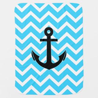 Ancre bleue de Chevron d'Aqua Couvertures Pour Bébé