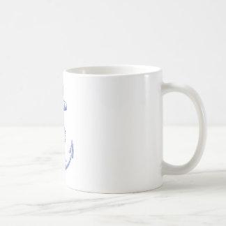 ancre bleue vintage avec la corde mug blanc