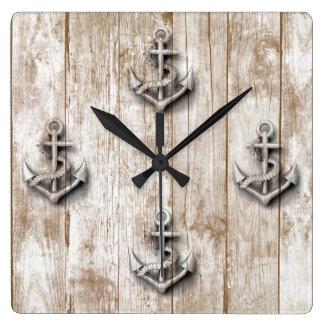 Ancre chique nautique vintage en bois horloge carrée